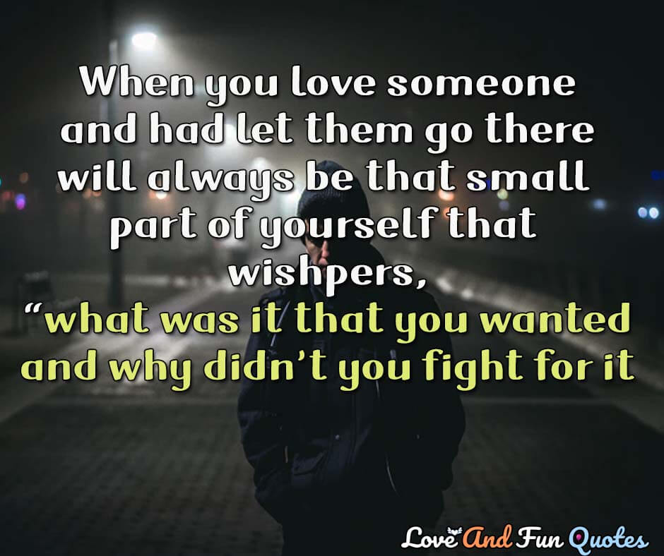 """When you loved someone and had to let them go, there will always be that small part of yourself that whispers, """"What was it that you wanted and why didn't you fight for it? Shannon L. Alder quotes"""