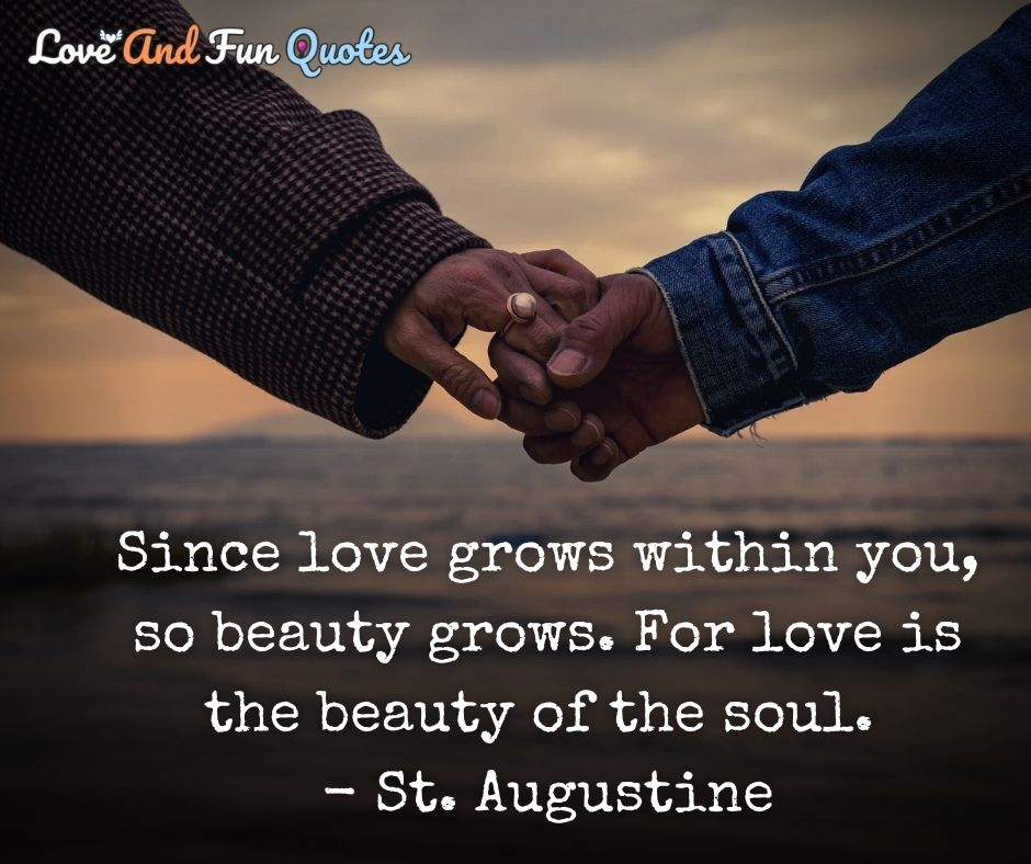 Since love grows within you, so beauty grows. For love is the beauty of the soul. - St. Augustine
